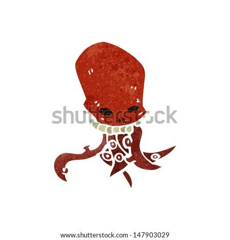 retro cartoon tentacle skull - stock vector