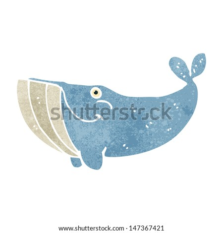 retro cartoon whale - stock vector