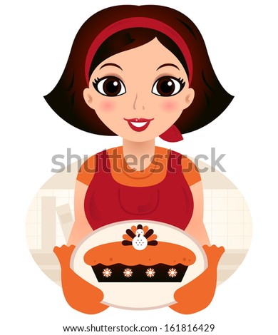Retro cartoon Woman serving Thanksgiving food - stock vector