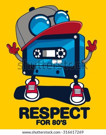retro cassette character design - stock vector