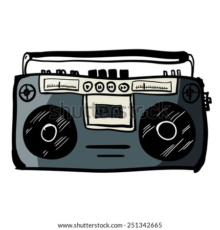 Retro cassette player cartoon. A children's sketch. Color image - stock vector