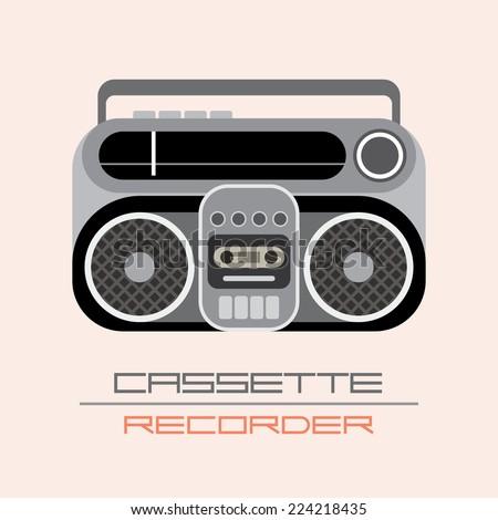 Retro Cassette Recorder isolated vector icon. - stock vector