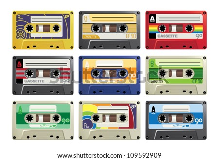 Retro Cassettes - stock vector
