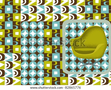 retro chair and collage of retro patterns - stock vector
