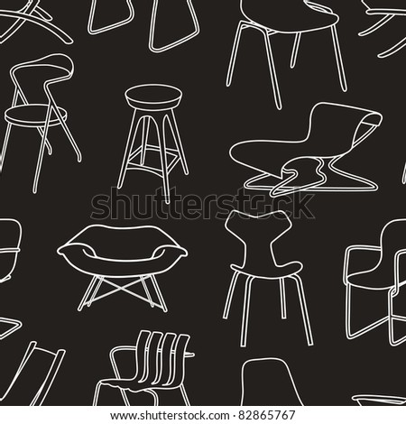 Retro chairs seamless pattern of furniture on black - stock vector
