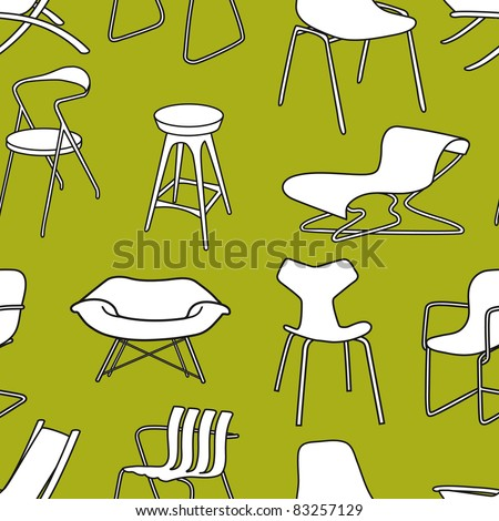 Retro chairs seamless pattern wallpaper of furniture  from the 50s and 60s - stock vector