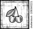 Retro cherry black and white. Vector - stock vector
