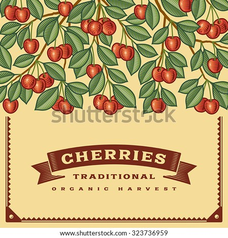 Retro cherry harvest card, Editable vector illustration with clipping mask. - stock vector