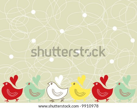retro chicks and scribble dots (vector) - stock vector