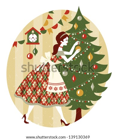 Retro Christmas - stock vector