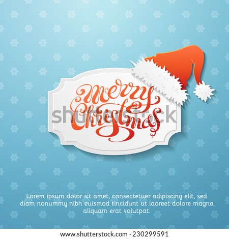 Retro Christmas background. Blue snowflakes background and paper badge with Santa hat. There is place for your text. - stock vector