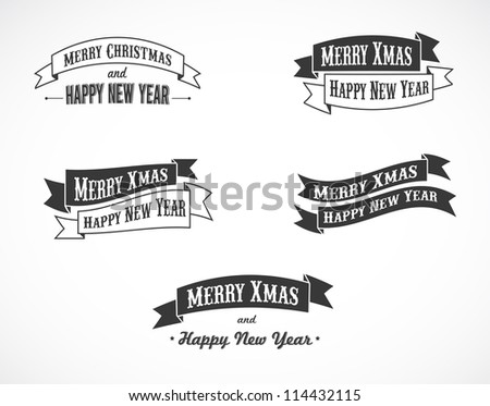 Retro Christmas background ribbons with text - stock vector