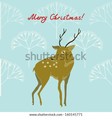 Retro Christmas Background with a deer.