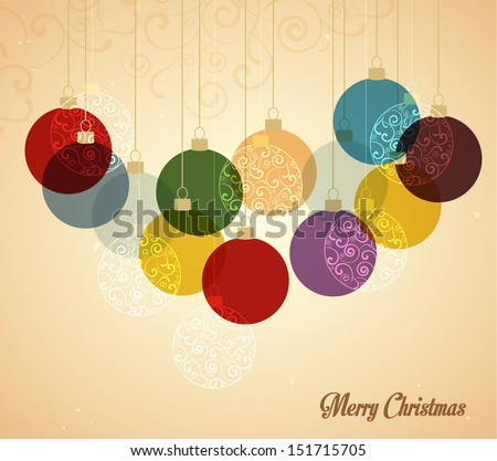 Retro Christmas background with Christmas balls - stock vector