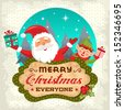 Retro Christmas background with Santa claus and Christmas elf - stock