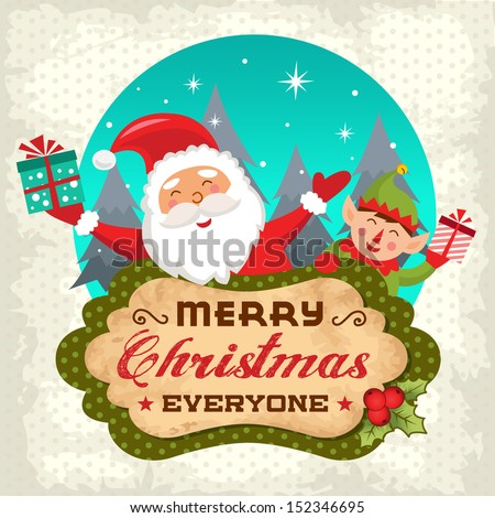 Retro Christmas background with Santa claus and Christmas elf - stock vector