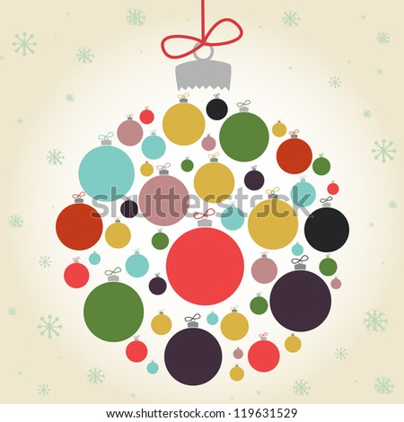 Retro Christmas background with the xmas baubles. Vector illustration. - stock vector