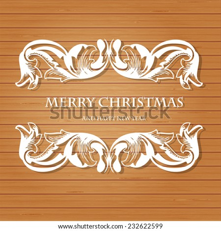 Retro christmas background with vintage frame on wood wall background. Vector greeting card design or xmas banner design. - stock vector