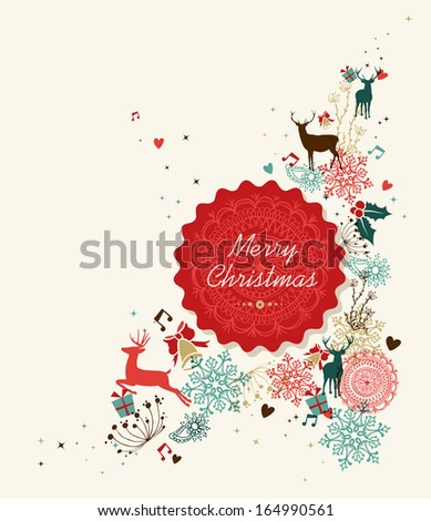 Retro Christmas card cloud composition. EPS10 vector file organized in layers for easy editing. - stock vector