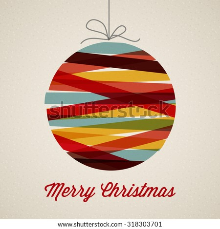 Retro Christmas card with christmas decoration - stock vector