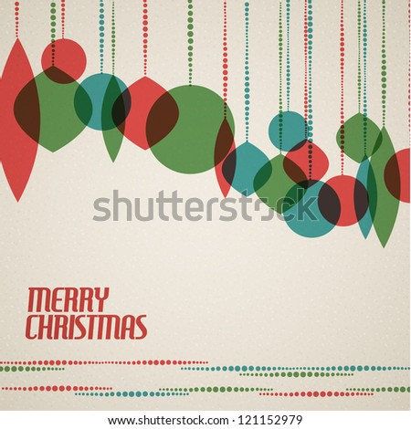 Retro Christmas card with christmas decorations - teal, green and red - stock vector