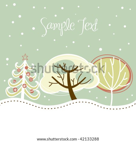 Retro Christmas card with cute trees and snow on it - stock vector