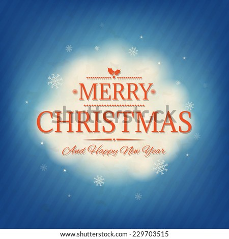Retro Christmas Card With Gradient Mesh, Vector Illustration - stock vector