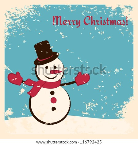 Retro Christmas card with happy snowman. Grunge effects can be easily removed. - stock vector
