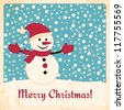 Retro Christmas card with happy snowman on falling snow background. Grunge effects can be easily removed. - stock vector