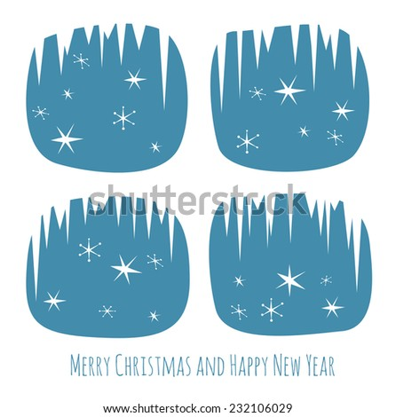 Retro Christmas card with window silhouette, stars and snowflakes - stock vector