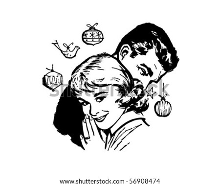 Retro Christmas Couple - Clip Art - stock vector