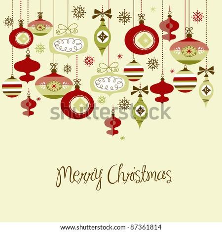 Retro Christmas Decorations. - stock vector