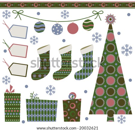 Retro Christmas design elements - stock vector