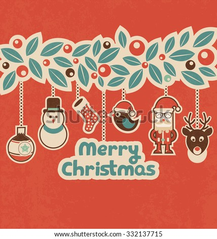 Retro Christmas Design with Hanging Characters - Vintage Style Christmas Greeting Card - stock vector