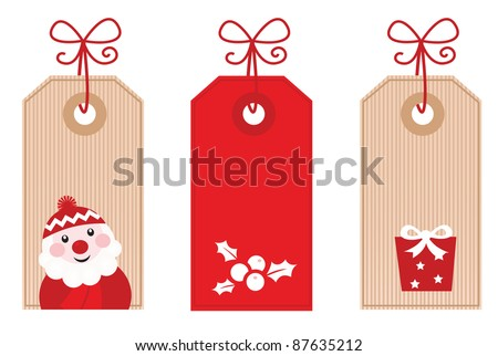 Retro Christmas Gift Tags or Labels ( red ) - stock vector
