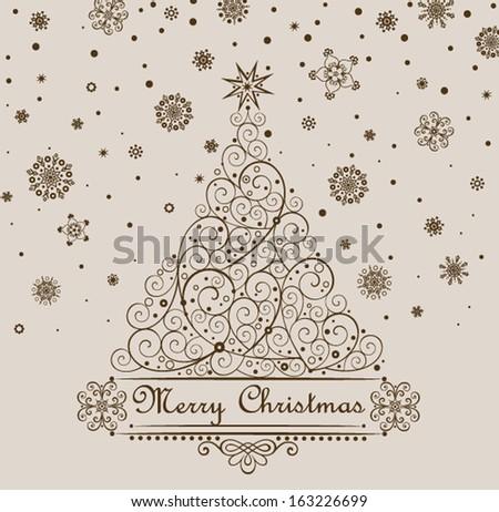 Retro christmas greeting.  - stock vector