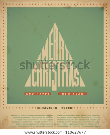 "Retro  Christmas Greeting Cards, text ""Merry Christmas"" in a form of Christmas tree. vector illustration. - stock vector"