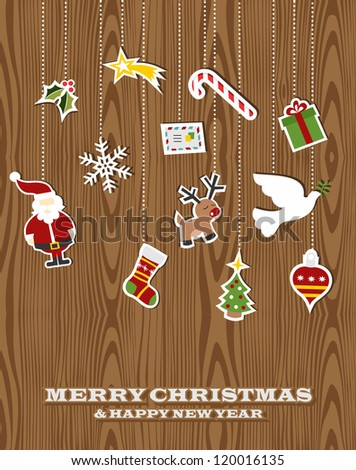 Retro Christmas hanging elements over wooden background. Vector illustration layered for easy manipulation and custom coloring. - stock vector