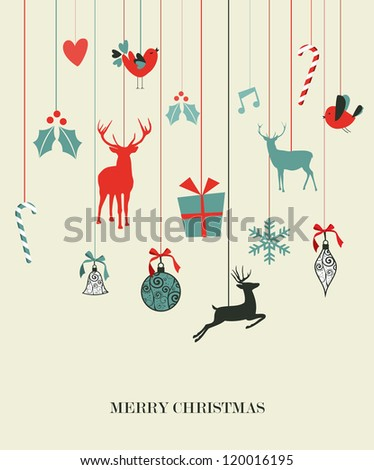 Retro Christmas hanging elements set. Vector illustration layered for easy manipulation and custom coloring. - stock vector