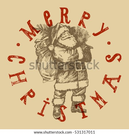 retro Christmas label. Santa Claus etching style lettering stamp.