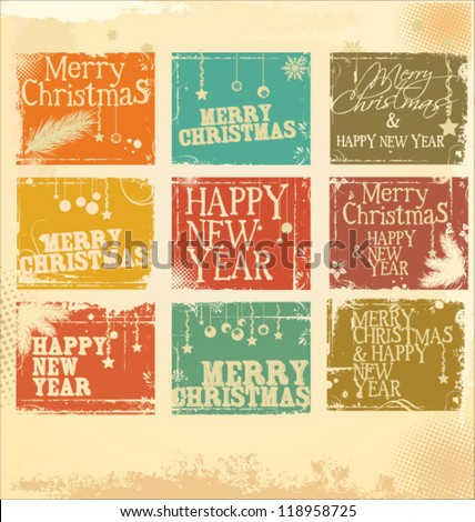 Retro Christmas label set - stock vector