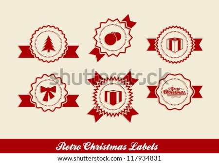 Retro Christmas Labels in editable vector format - stock vector