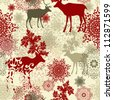 Retro Christmas pattern Seamless christmas background - stock photo