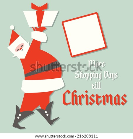 Retro Christmas Shopping Sign with Santa and Shopping days left before Christmas Countdown Copy Space - stock vector