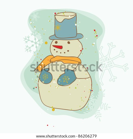 Retro Christmas Snowman Card - for scrapbook, design, invitation, greetings