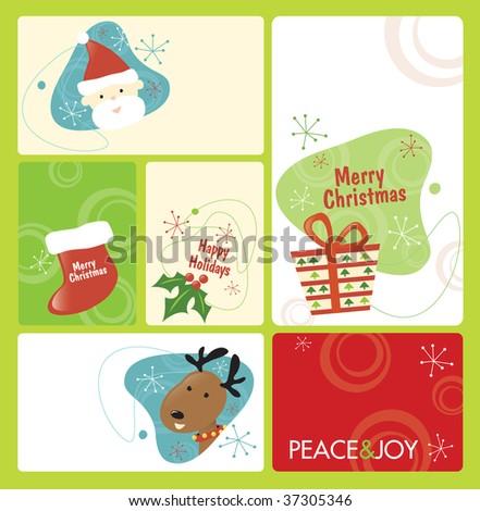 Retro Christmas Tag Set 1 - stock vector