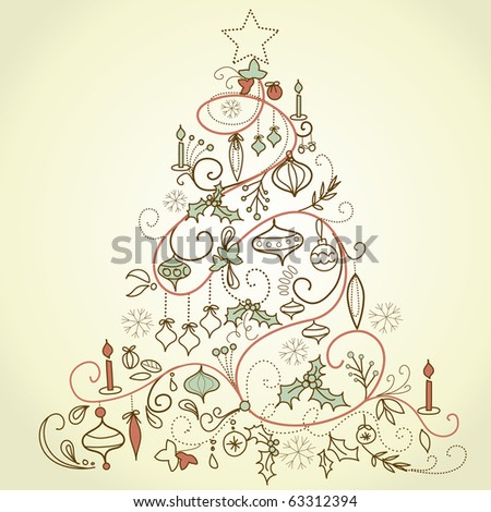 Retro Christmas tree - stock vector