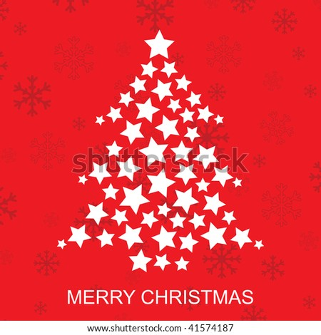 retro christmas tree of stars on global red background - Christmas Tree Stars