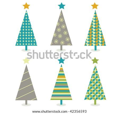 retro christmas trees icon set retro christmas trees in retro design vector illustration - Retro Christmas Tree