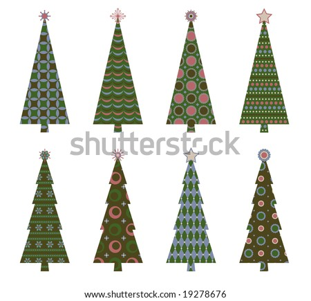 Retro Christmas trees in coordinating colors - stock vector